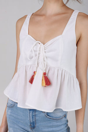 Joy Tassel Babydoll Top in White
