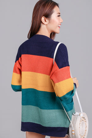 Backorder* Color Theory Knit Cardigan in Navy