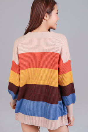 Color Theory Knit Cardigan in Oatmeal