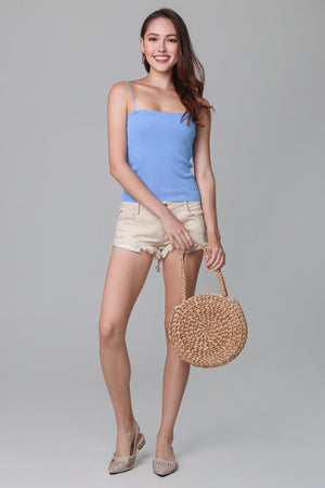 Thin Straps Tube Knit Top in Sky