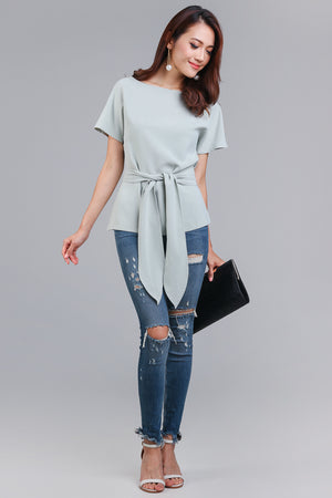 Restocked* Cotton Candy Tie-Front Blouse in Mint