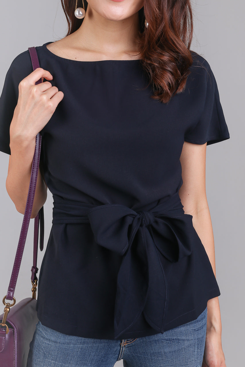 Cotton Candy Tie-Front Blouse in Navy