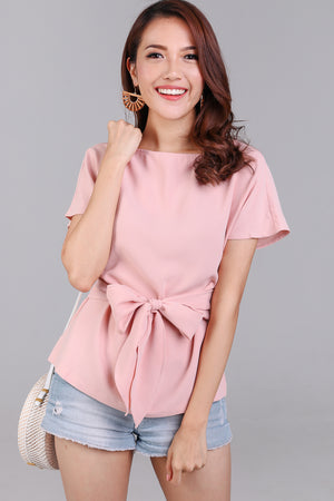 Cotton Candy Tie-Front Blouse in Pink