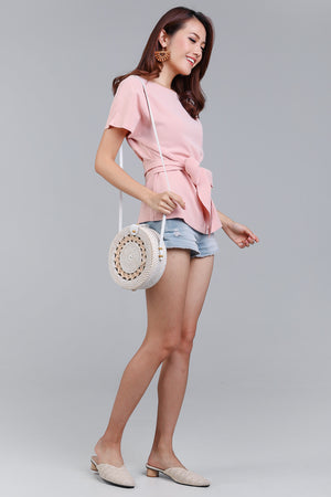 Restocked* Cotton Candy Tie-Front Blouse in Pink