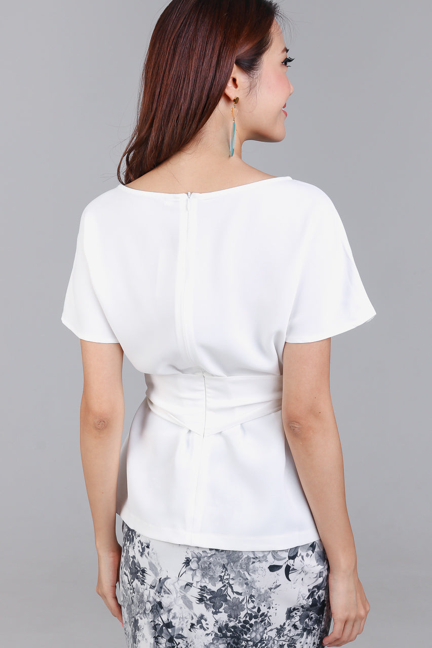 Cotton Candy Tie-Front Blouse in White
