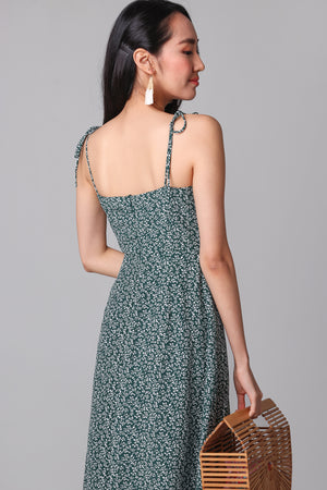 Spring Side Tie-Strap Dress in Forest
