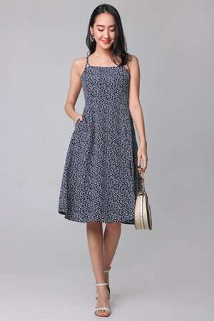 Spring Side Tie-Strap Dress in Navy