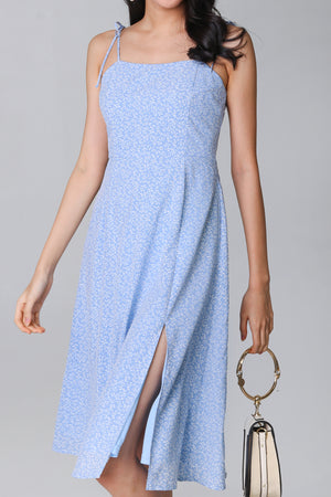 Spring Side Tie-Strap Dress in Sky