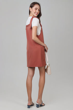 Cheyanne Dungarees Dress in Brick