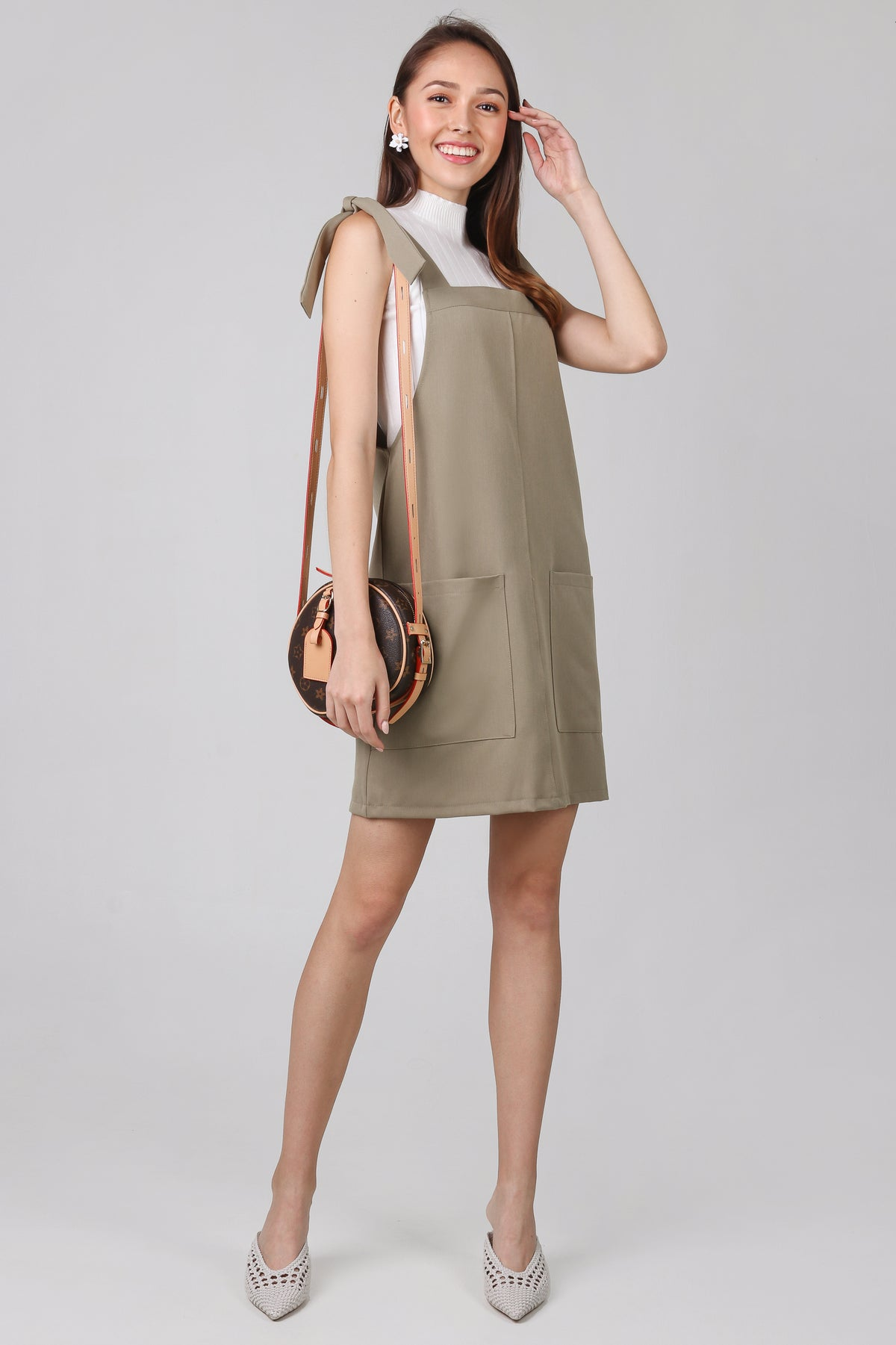 Cheyanne Dungarees Dress in Olive