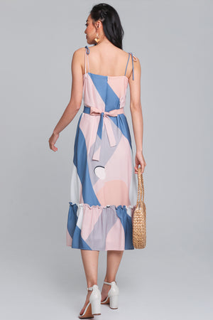 Sweet Soiree Tie-Strap Dress in Blue