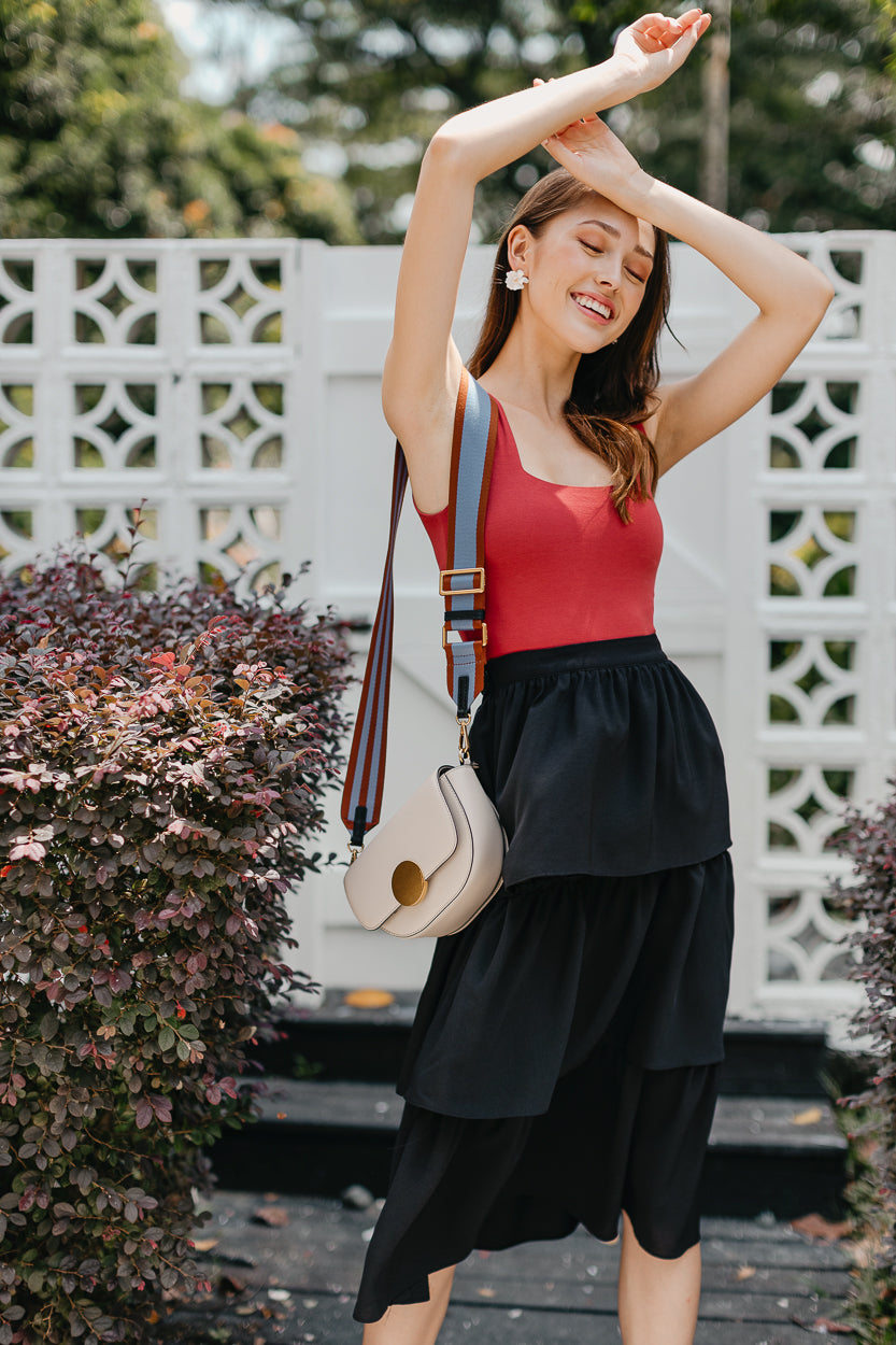 Windsor Tier Midi Skirt in Black