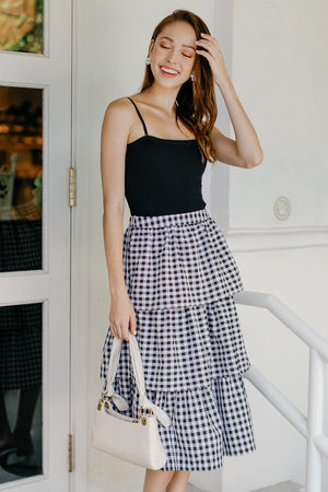 Restocked* Windsor Tier Midi Skirt in Black Gingham