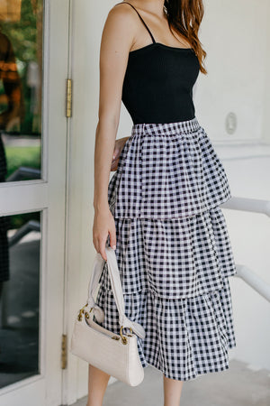 Windsor Tier Midi Skirt in Black Gingham