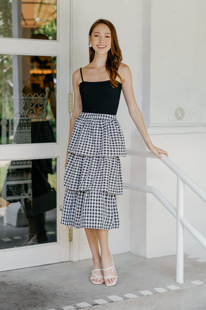 Backorder* Windsor Tier Midi Skirt in Black Gingham