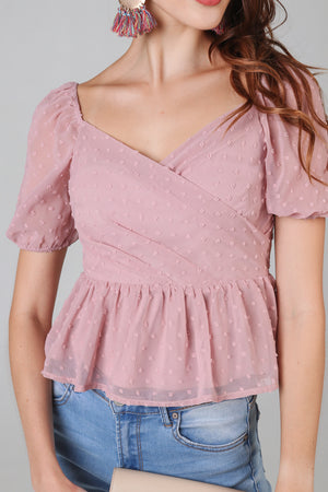 Backorder* Swiss Dots Peplum Top in Dusty Pink