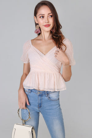 Backorder* Swiss Dots Peplum Top in Pale Peach