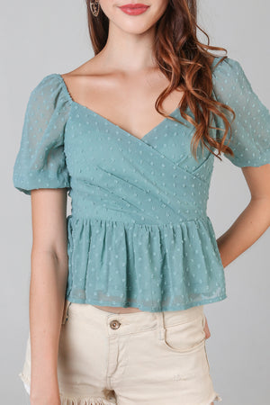 Backorder* Swiss Dots Peplum Top in Sea Foam