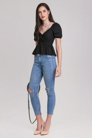 Tina Peplum Top in Black