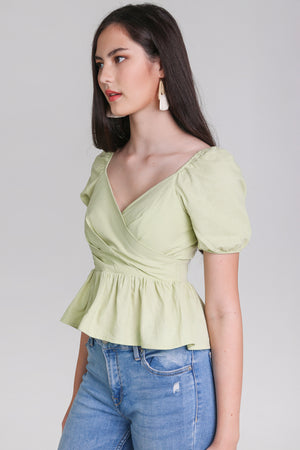 Backorder* Tina Peplum Top in Apple Green
