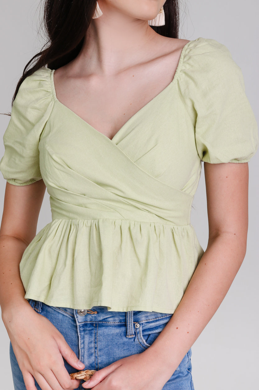 Restocked* Tina Peplum Top in Apple Green
