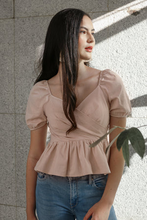 Backorder* Tina Peplum Top in Powder Pink