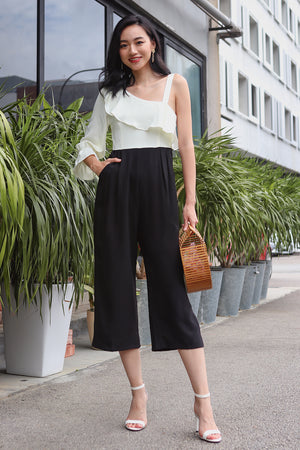 Miranda Toga Jumpsuit in White/Black