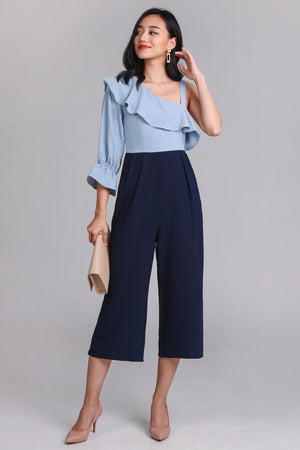 Miranda Toga Jumpsuit in Sky/Navy