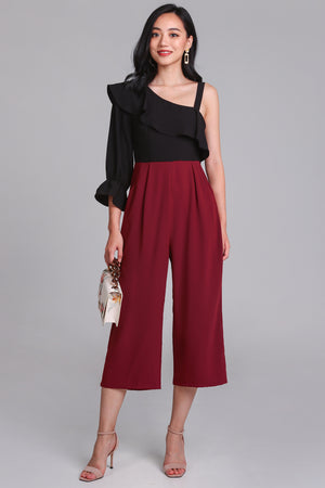 Miranda Toga Jumpsuit in Black/Wine