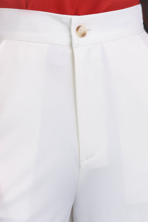 Tortoiseshell Button Chinos in White