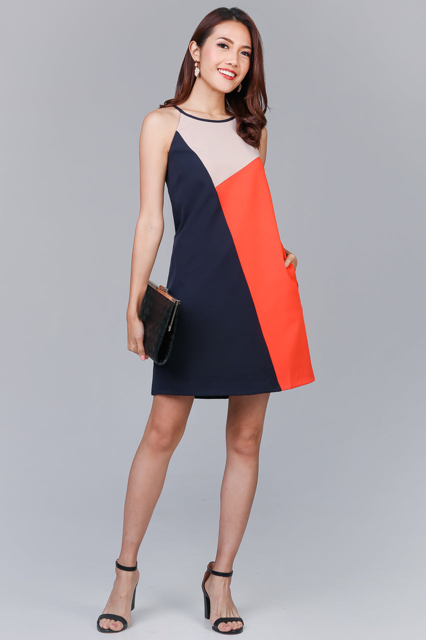 Rule Of Thirds Trapeze Dress in Navy Coral