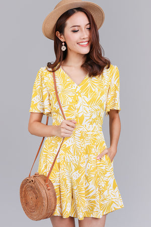 Backorder* Panama Tropics Romper in Yellow