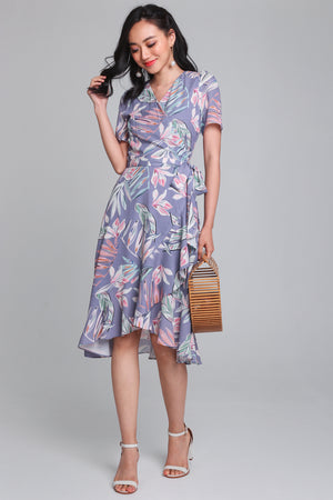 Calliope Leafy Wrap Dress in Lilac
