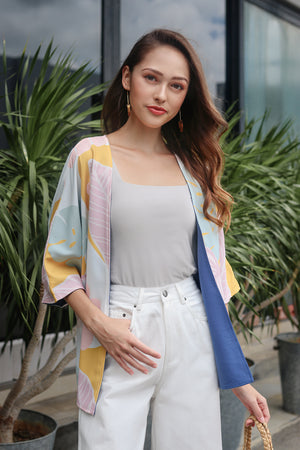 Tropics Kimono Jacket in Dusty Blue (Reversible)