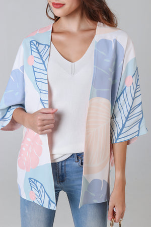 Tropics Kimono Jacket in Blush Pink (Reversible)
