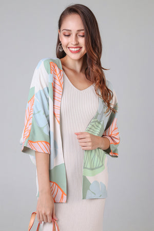 Tropics Kimono Jacket in Sage Green (Reversible)