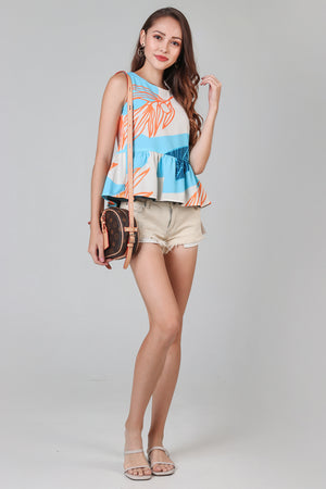 Tropics Peplum Top in Sky Forest (Reversible)
