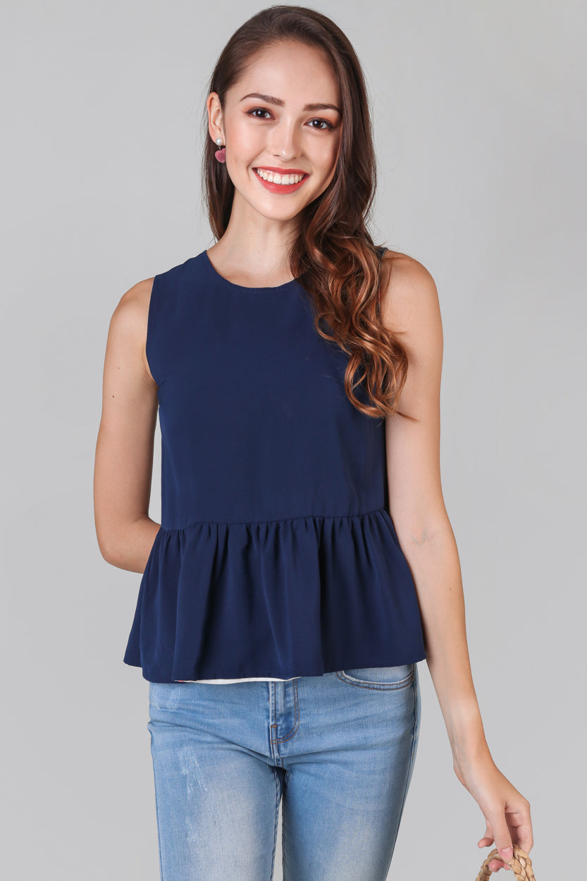 Tropics Peplum Top in Sage Navy (Reversible)
