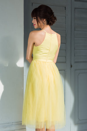 Midsummer's Night Tulle Dress In Yellow