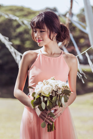 Midsummer's Night Tulle Dress In Peach Pink