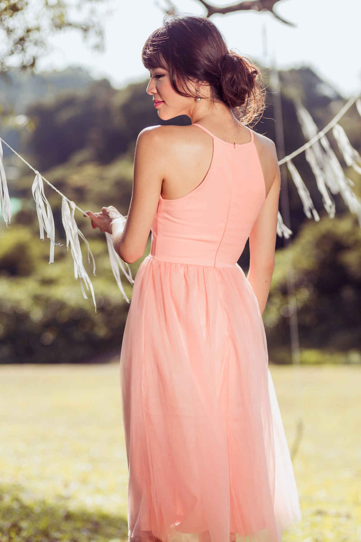 Restocked** Midsummer's Night Tulle Dress In Peach Pink