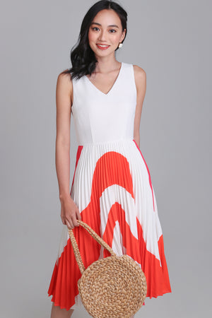 Ripple V-Neck Pleated Dress in Coral