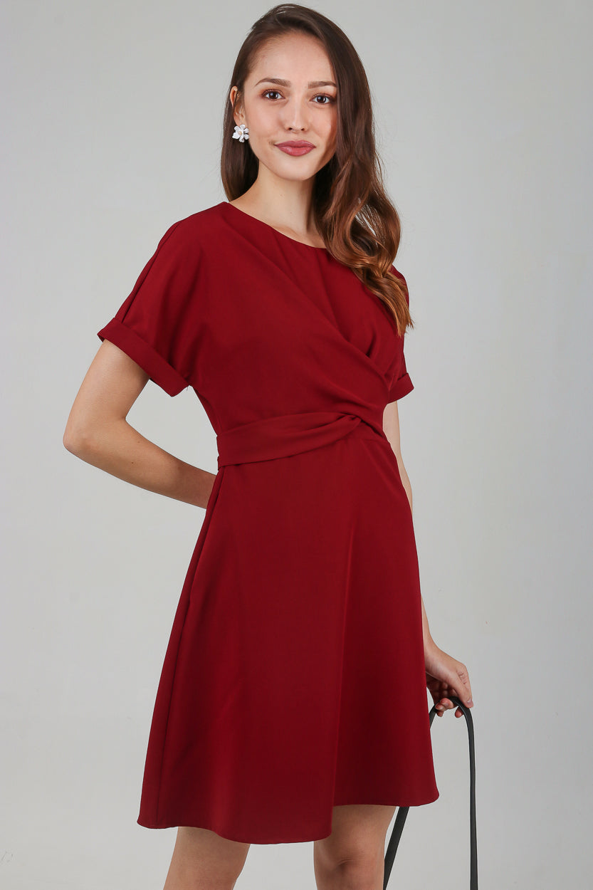 Twist-Front Sleeved Dress in Wine