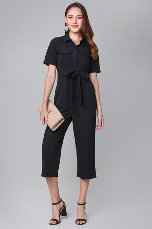 Suited Up Utility Jumpsuit in Black
