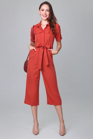 Suited Up Utility Jumpsuit in Brick