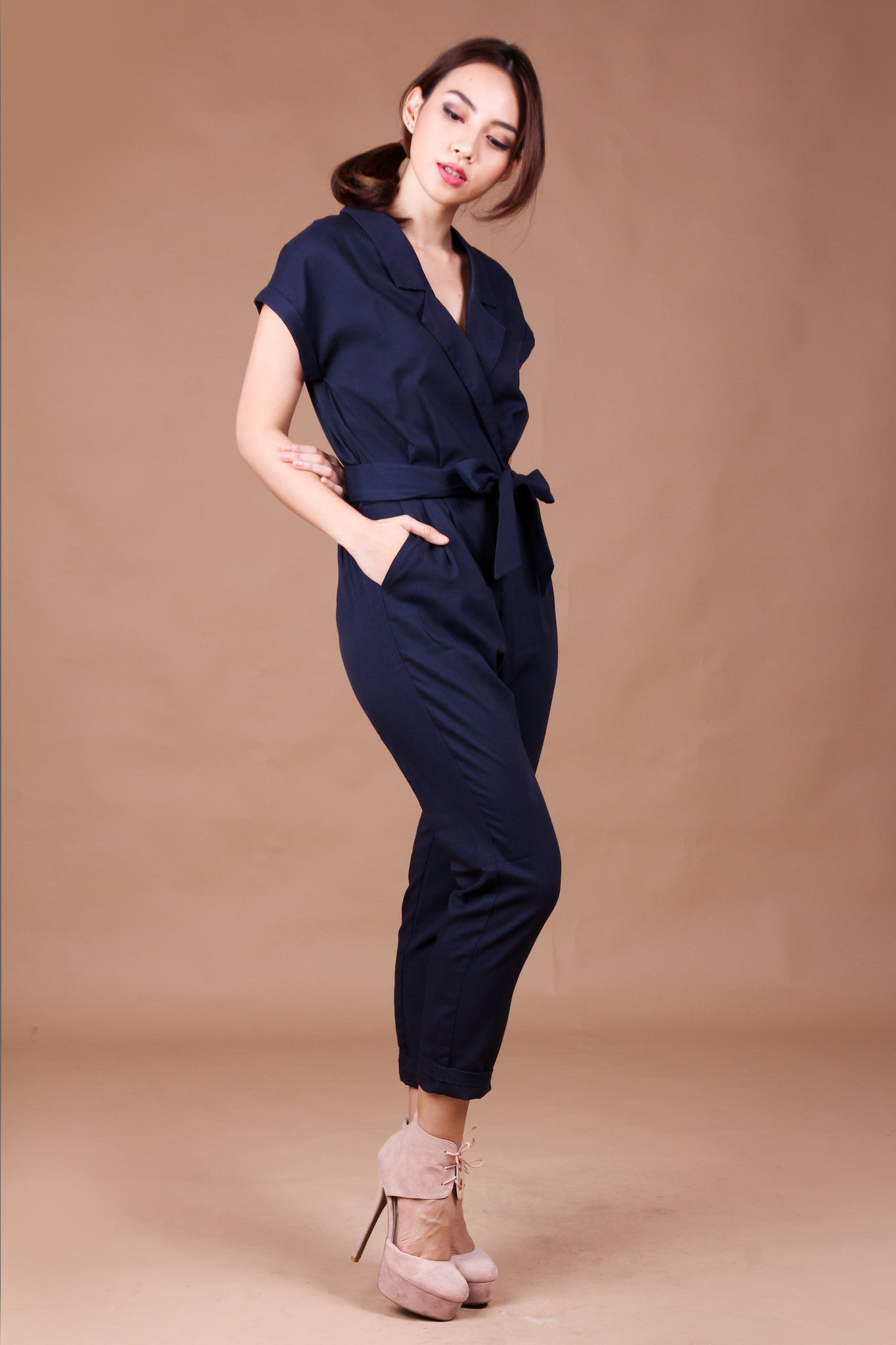 Stephanie Utility Jumpsuit in Navy