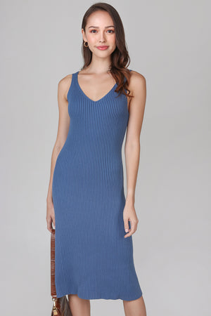 V-neck Knit Midi Dress in Navy