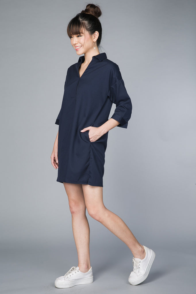 Restocked* Gerra V-Shirt Dress in Navy