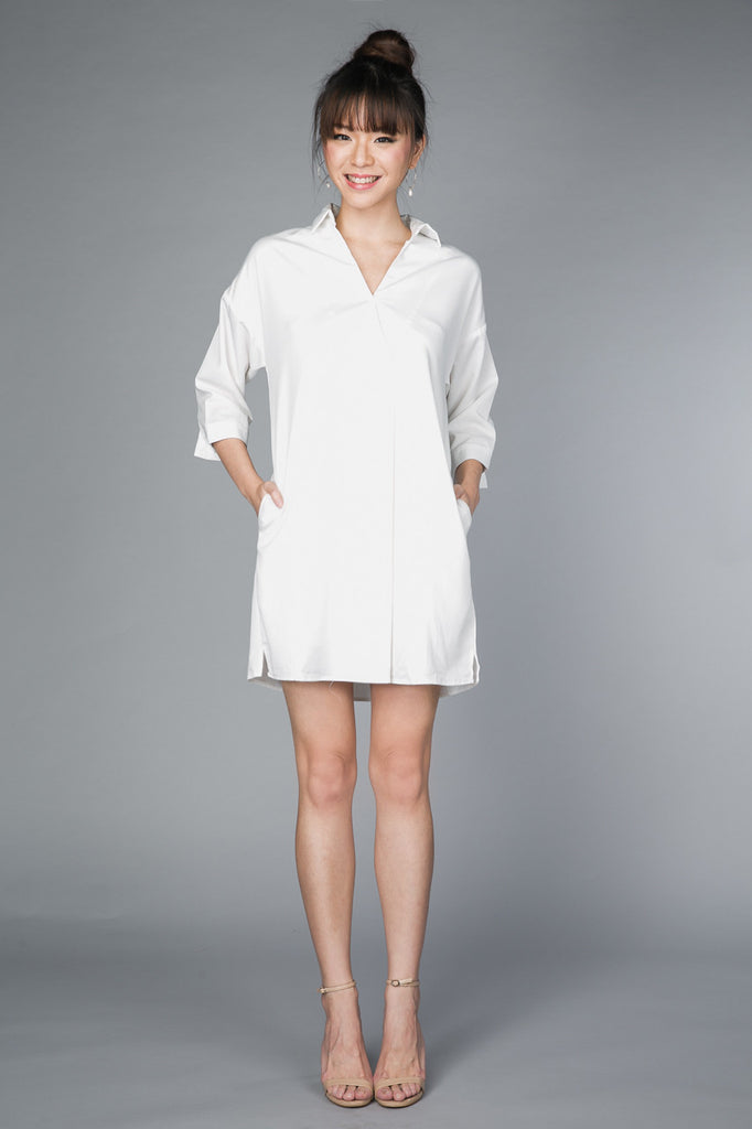 Restocked* Gerra V-Shirt Dress in White