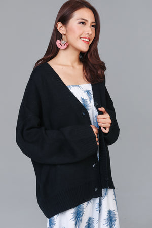 Varsity Button Cardigan in Black